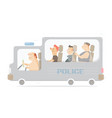 police bus cartoon character vector image