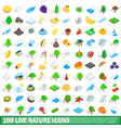 100 live nature icons set isometric 3d style vector image vector image