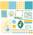 Baby Boy Sleeping Theme - for Party Scrapbook vector image vector image