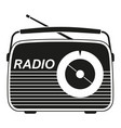 black and white retro radio silhouette vector image vector image