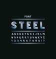 blue steel font alphabet vector image vector image