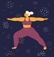 body positive woman makes asana in space vector image vector image