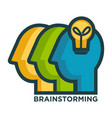 Brainstorming creative icon of head and idea lamp