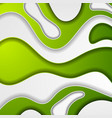 bright green papercut waves abstract background vector image vector image