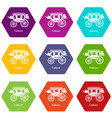 carriage icons set 9 vector image