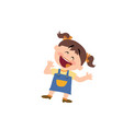cartoon character of a cheerful girl vector image vector image