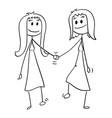 cartoon homosexual couple two lesbian women vector image vector image