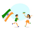 cartoon indian kids running with indian flags vector image vector image