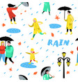 characters people walking in rain seamless pattern vector image