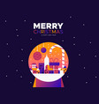 christmas and new year card city snowglobe vector image