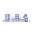 cityscape with hospital - modern thin line design vector image vector image