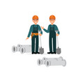 construction workers in overalls and protective vector image vector image