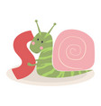 cute animal alphabet with snail vector image