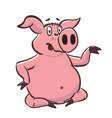 cute pig shows a little teapot pink piggy cartoon vector image