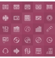 DJ outline icons set vector image