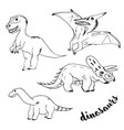 doodle dinosaurs with black outline vector image