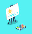 easel with white canvas and paints brush vector image