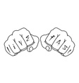 Fists with live fast fingers tattoo Contour vector image vector image
