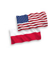 flags poland and america on a white background vector image vector image