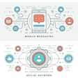 Flat line Social Media and Mobile Messaging vector image