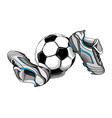football boots with ball on a white background vector image