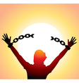 girl with raised hands vector image vector image