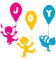 Hand made children with balloons vector image vector image