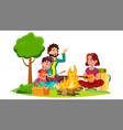 happy family with children sitting around the vector image vector image