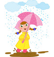 happy girl playing in the rain vector image