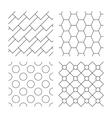 Hex diagonal rectangles and circles textures vector image