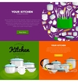 home and restaurant kitchenware banner set vector image