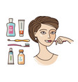 hygiene of oral cavity beautiful girl brushing vector image vector image
