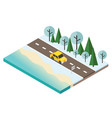 isometric snow winter day car travaler on the vector image