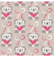 Koala with heart seamless pattern vector image