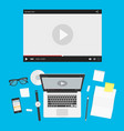 laptop with video player vector image