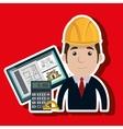 man architect protractor calculator vector image vector image