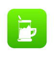 metal glass cup tea icon green vector image vector image