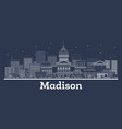 outline madison wisconsin city skyline with white vector image vector image