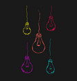 painted light bulbs in bright colors vector image