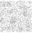 pattern with cute girl princess cats crown bears vector image vector image