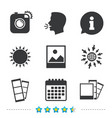 photo camera icon flash light and landscape vector image vector image