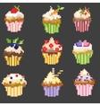 Pixel art cupcakes vector image vector image
