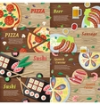 set national dishes flat style banners vector image vector image