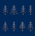 set of abstract minimalistic golden christmas vector image vector image