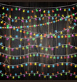set of color garland lights glowing christmas vector image vector image