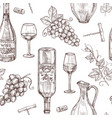 sketch wine seamless pattern wine bottles vector image vector image