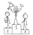 stickman cartoon of winner celebrating on the vector image vector image