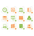 stylized business finance and office icons vector image vector image