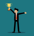 successful man holds a cup winner vector image