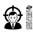 Victim Businessman Flat Icon With Bonus vector image